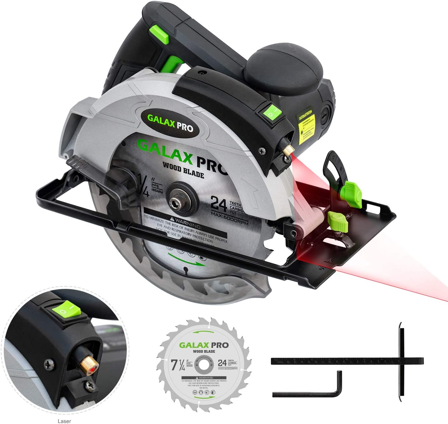 Circular Saw, 12A 5500RPM Electric Saw GALAX PRO Corded Circular Saw with 7-1 4 Circular Saw Blade Laser Guide Max Cutting Depth 2.45 90 , 1.81 45 for Wood and Log Cutting_GPL12367