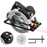 "Circular Saw, 12A 5500RPM Electric Saw GALAX PRO Corded Circular Saw with 7-1/4"" Circular Saw Blade & Laser Guide Max Cutting Depth 2.45"" (90°), 1.81"" (45°) for Wood and Log Cutting_GPL12367"