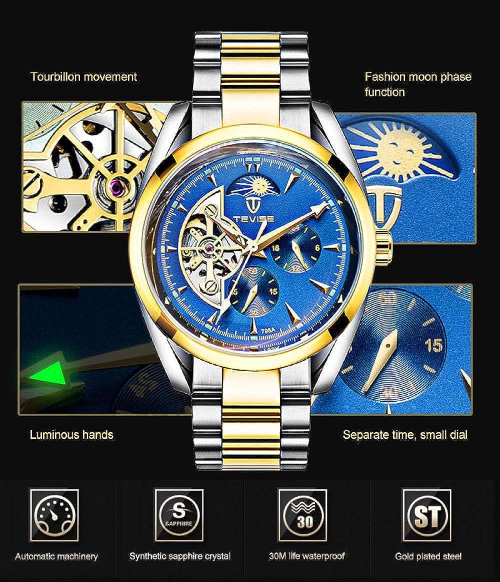 Montres Homme,Montre Mécanique Automatique Étanche À l'eau pour Hommes Tourbillon Star Golden Black