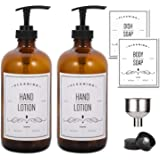 AOZITA 16oz Glass Soap Dispenser with Pump for Kitchen Sink and Bathroom - Amber Soap Pump Bottle with Funnel and 4 White Waterproof Labels