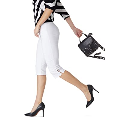 89th + Madison Women's Millennium Stretch Buckle Trim Comfort Waist Capri Pants at Women's Clothing store