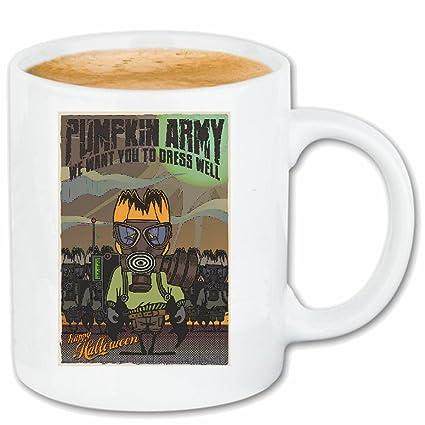 """taza para café """"FIGHTERS calabaza del feliz Halloween MÁSCARA RESPIRADORES EJÉRCITO calabaza de Halloween"""
