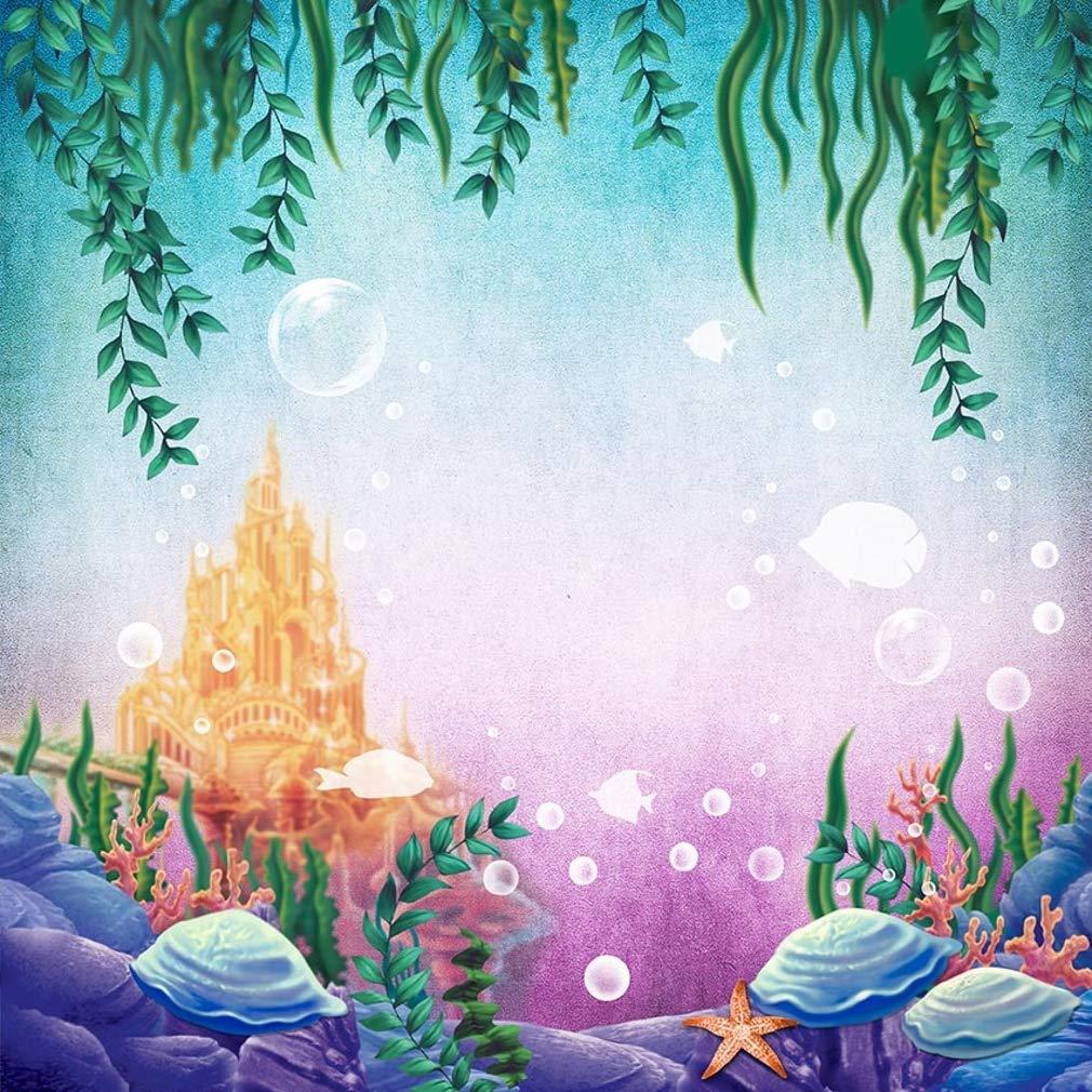 8 x 8フィート マーメイド 写真 背景 緑の葉 海の城 貝殻 バブル 水中 世界 景色 写真撮影用背景 スタジオ用   B07GC2ZRCT