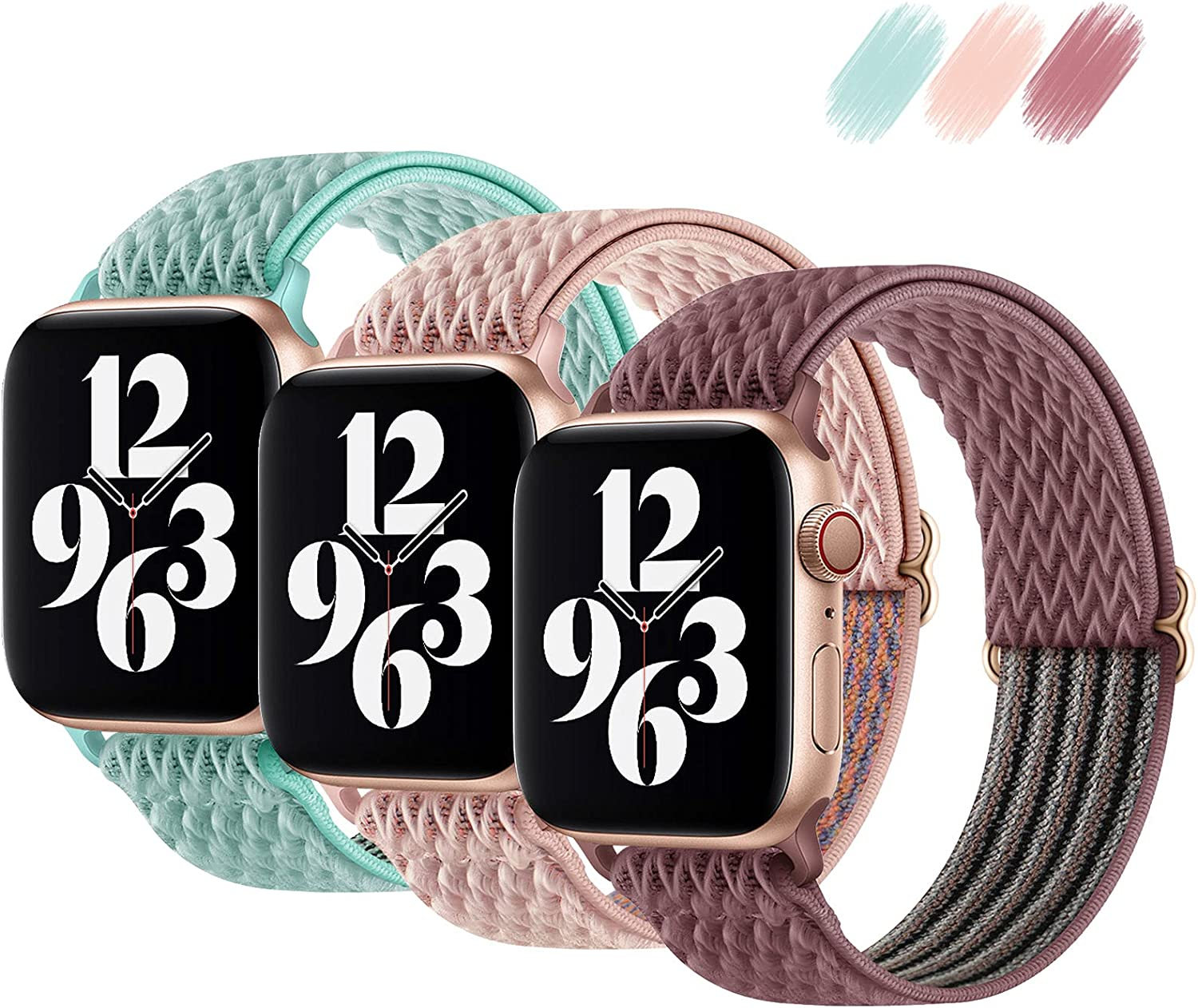 Fullife 3-Pack Stretchy Solo Loop Strap Compatible with Apple Watch Bands 38mm 40mm, Adjustable Stretch Braided Sport Elastics Nylon Women Men Wristband Compatible with iWatch Series 6/5/4/3/2/1 SE