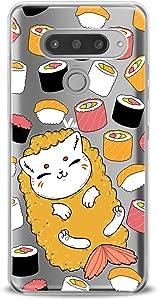 Lex Altern TPU Case Compatible with LG G8 Stylo 6 5 K62 K11 G7 ThinQ G6 K42 V35 V50 Food Clear Kawaii Cat Design Print Kids Girls Fish Art Women Lightweight Cover Slim fit Smooth Soft Sushi Pattern