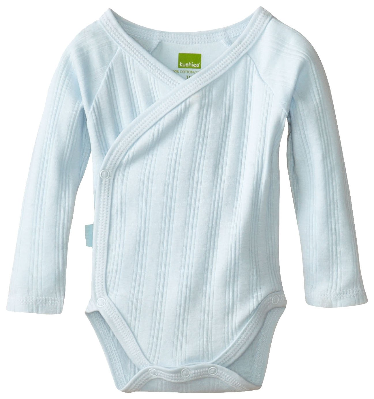 Kushies Baby Everyday Layette Wrap Long Sleeve Bodysuit (Rib), Blue, 6 Months, 1 Pack A468-Blue-6 Months