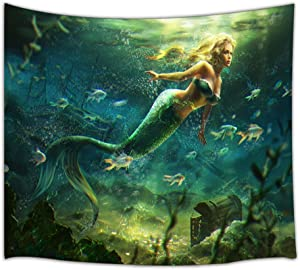 KOTOM Mermaid Decor Tapestry, Beautiful Mermaid and Treasure Chest, Wall Art Hanging for Living Room Bedroom Dorm Decor 71X60Inches Wall Blankets