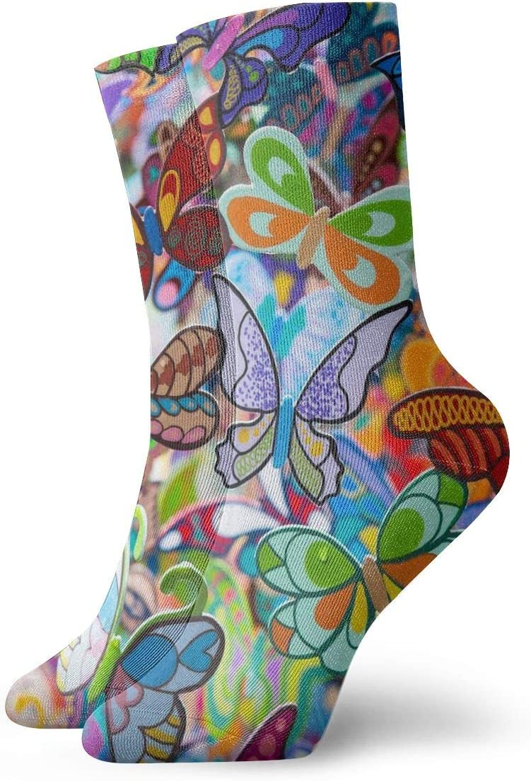WEEDKEYCAT Rainbow Colorful Butterfly Adult Short Socks Cotton Classic Socks for Mens Womens Yoga Hiking Cycling Running Soccer Sports
