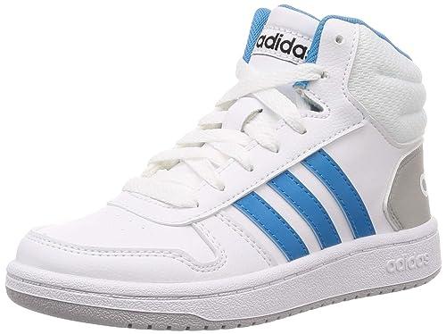 19f16333 adidas Hoops Mid 2.0 K, Zapatillas de Baloncesto Unisex niños, Blanco FTWR  White/Shock Cyan/Core Black, 32 EU: Amazon.es: Zapatos y complementos