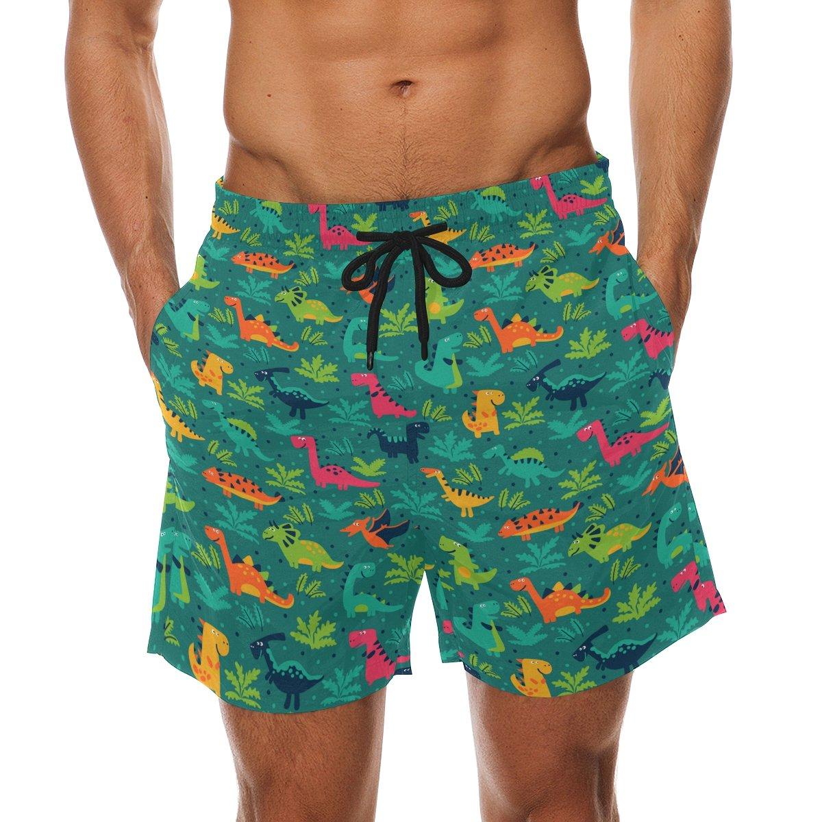 d3cdae983133c Franzibla Cute Cartoon Dinosaur Pattern Print Men's Swim Trunks Swimming  Beach Shorts Watershort | Amazon.com