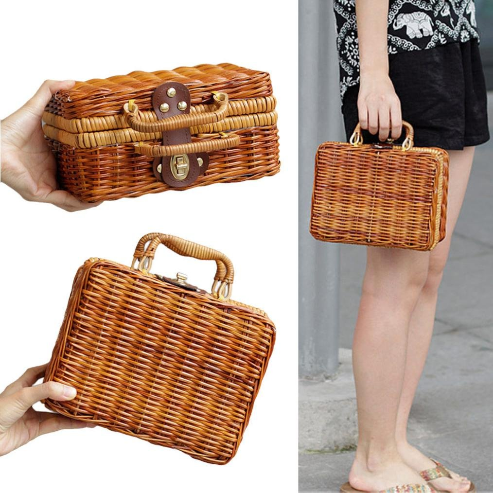 Auwer Instagram Hot, Women's Top Handle Bamboo Handbag Summer Beach Tote Bag Luxury Designer Bamboo Handbags Travel Clutch (Brown)