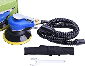 "Professional Orbital Sander 5"" Dual Action Palm Sander for Auto Body Work, Hook and Loop Vacuum System"