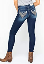 Miss Me Womens Lace Embroidery Pocket Skinny Jeans