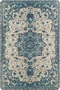 Lahome Collection Traditional Vintage Floral Area Rug - 2' X 3' Non-Slip Medallion Vintage Area Rug Small Accent Distressed Throw Rugs Floor Carpet for Door Mat Entryway Bedrooms Decor (2' X 3, Blue)