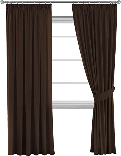 Thick Blackout Thermal Insulated Room Darkening Winow Treatment Extra Long Curtains Drapes With Two Free Tiebacks Dark Brown Energy Saving Noise Reducting 66 Width X 90 Drop Set Of 2 Pieces