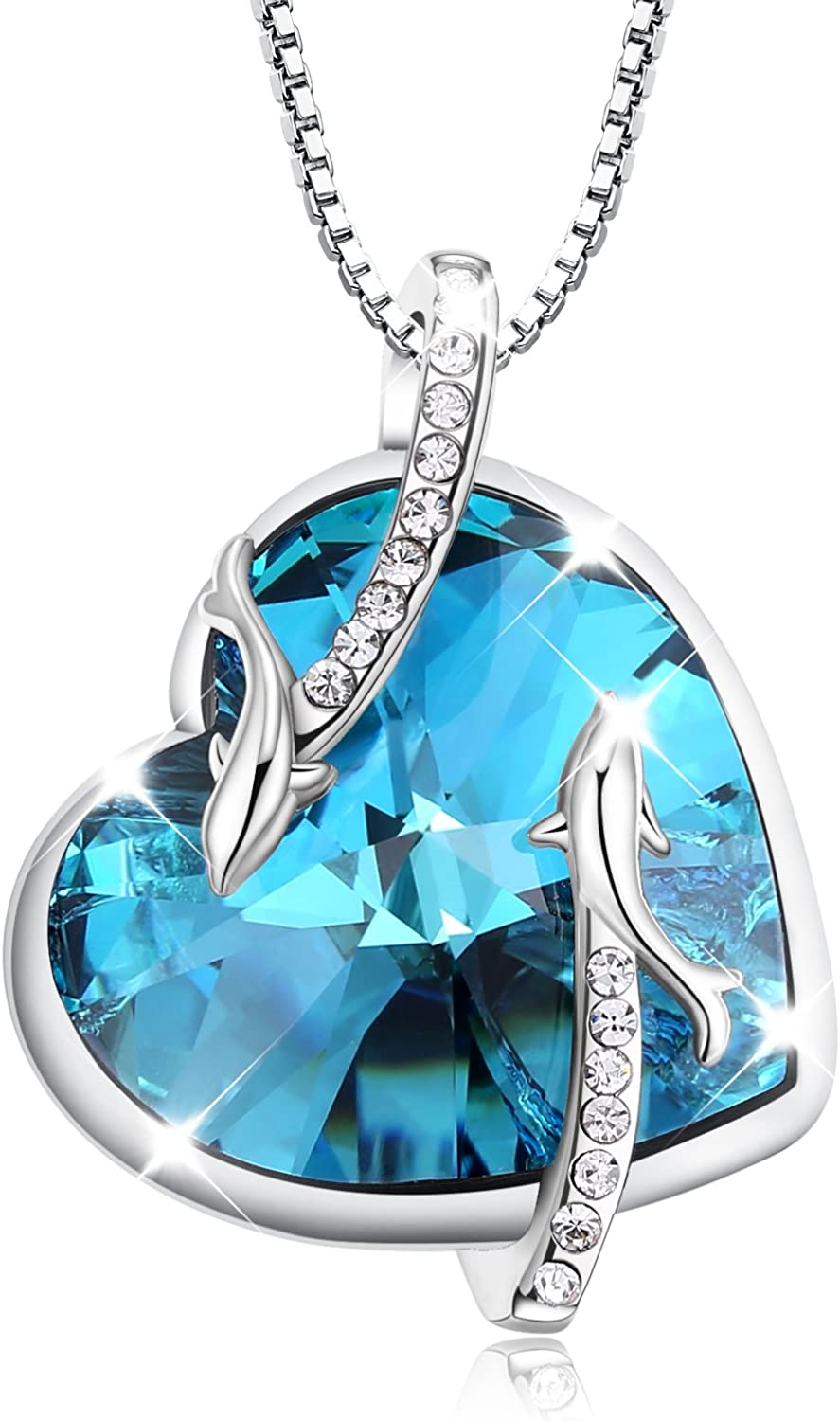 """Turantu Gift for Women""""Heart of the Ocean"""" Dolphin Pendant Necklace Made with SWAROVSKI Crystal"""