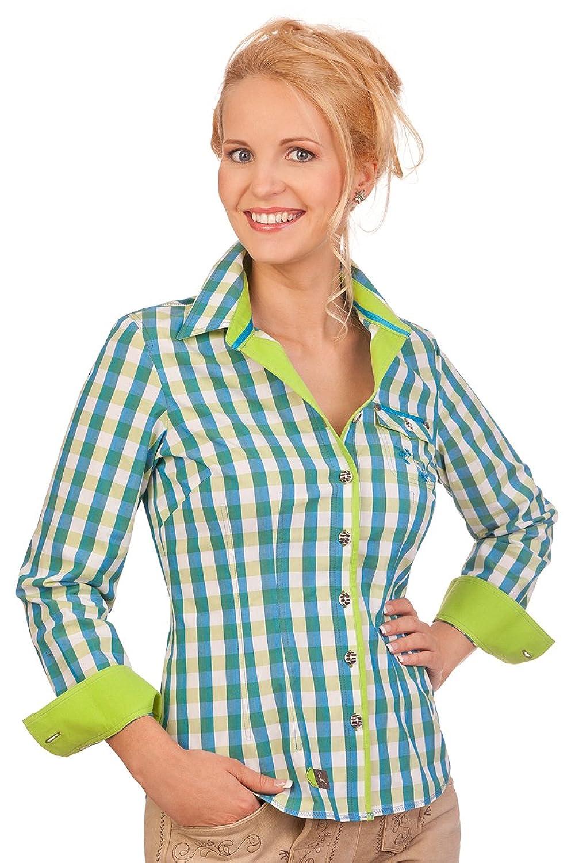 Trachten Bluse langer Arm - RIEGSEE - lachs, rot, azurblau