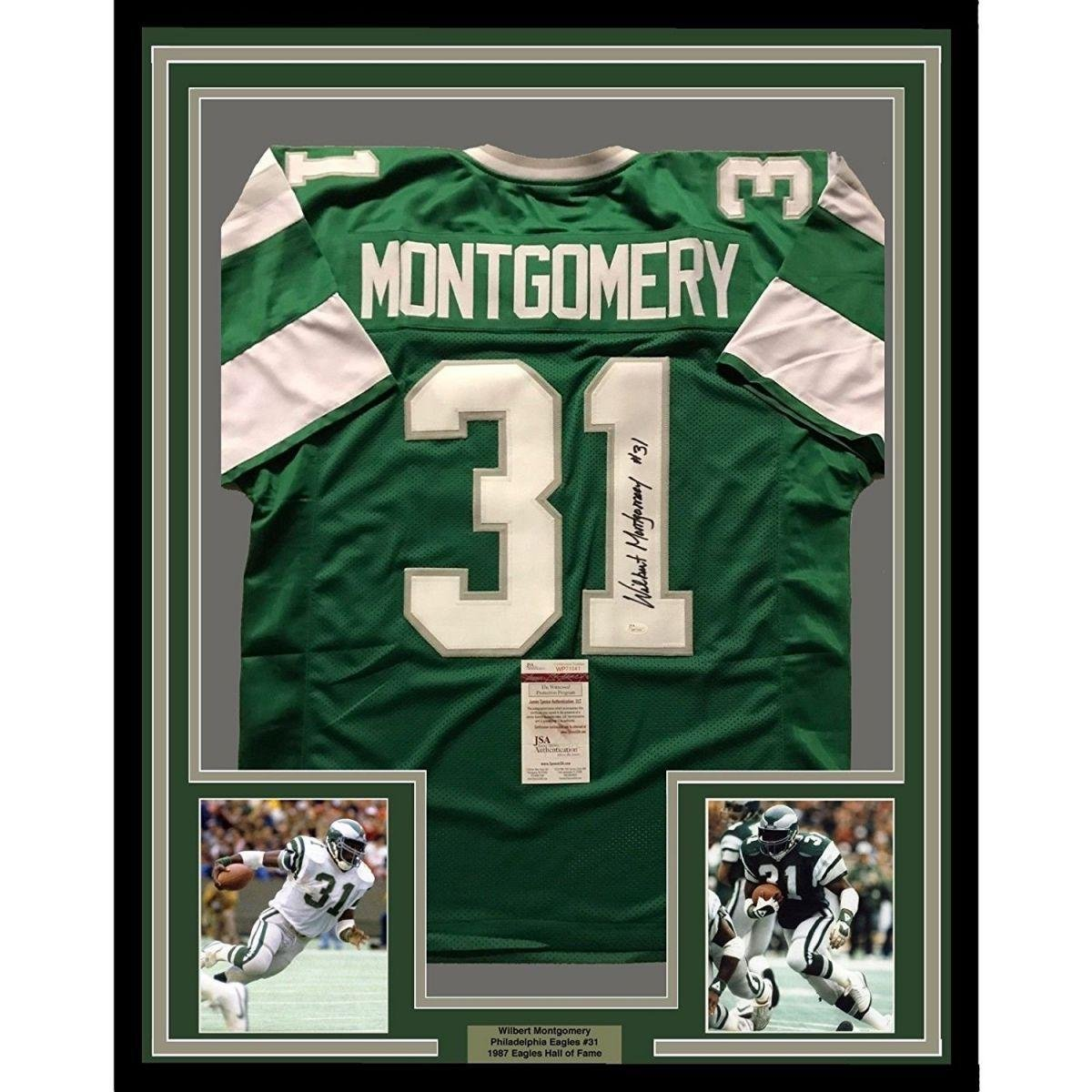 finest selection a4eb7 93c93 Wilbert Montgomery Signed Jersey - FRAMED 33x42 Green COA ...