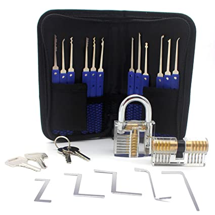 OneChois Lockpicking Set, 22 piezas Lock Pick Set Incluye 2 cerraduras transparentes para cerrajero,