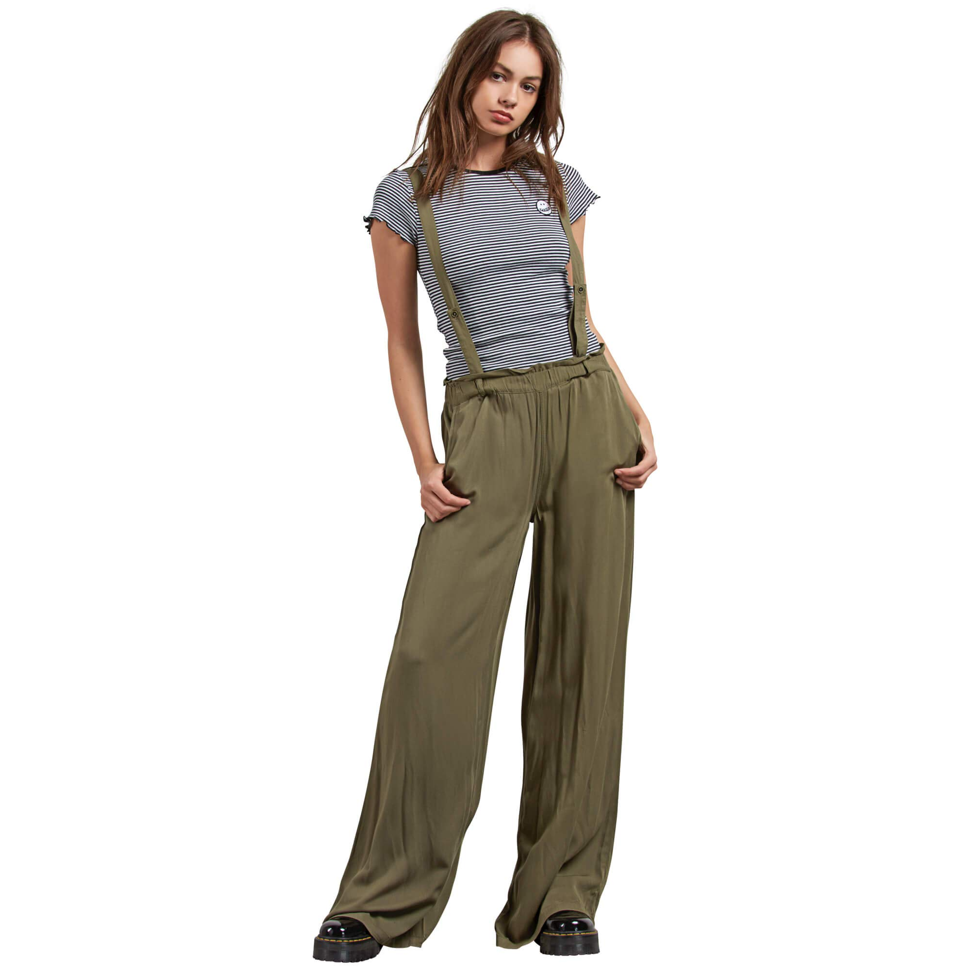 Volcom Junior's Dreamt It Up High Waisted Wide Leg Suspender Pants, Dark camo, Small