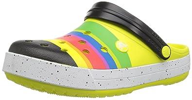 a1b8e8a66ff Crocs Unisexe Crocband Color-Burst Sabot - Balle de Tennis Vert Noir