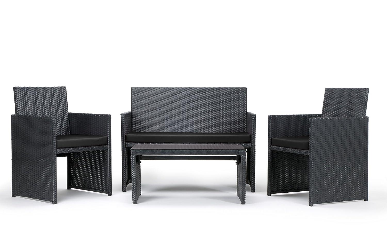 Rattan4Life 4 Teilig Neapel Deluxe Polyrattan Gartenmöbel Set, Sofa /  Lounge / Gartengarnitur / Kissenbezug, Schwarz Günstig Bestellen