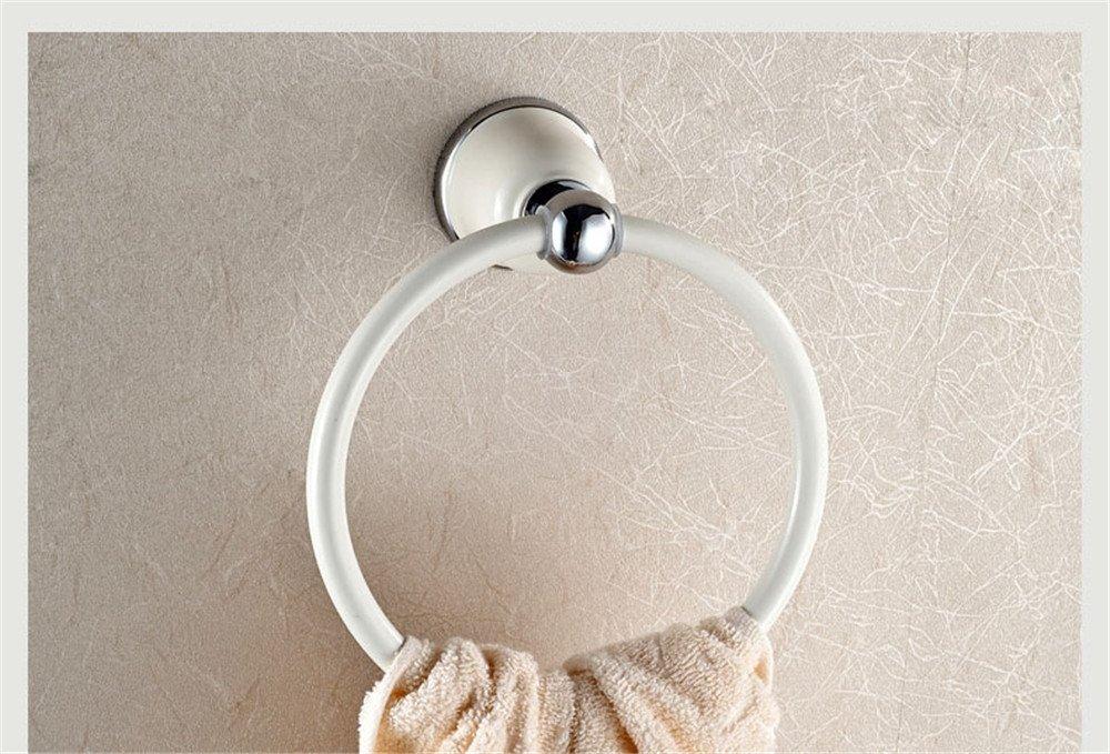 Wei/ßer Handtuchring f/ür das Bad Europ/äischer Handtuchringrahmen Chrom-Handtuchring Gebratene wei/ße Farbe Runder Handtuchhalter