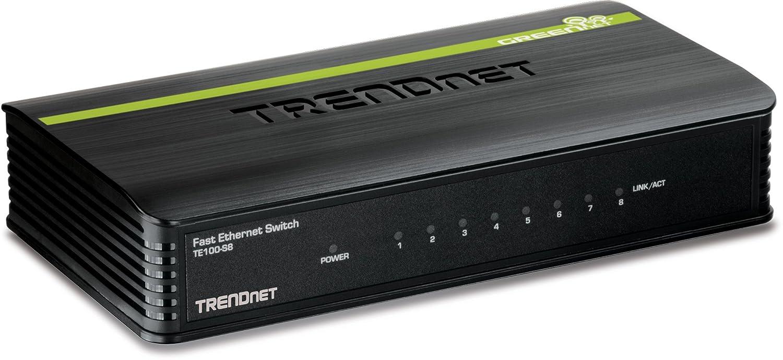 TRENDnet 8-Port Unmanaged 10/100 Mbps GREENnet Ethernet Desktop Plastic Housing Switch,TE100-S8