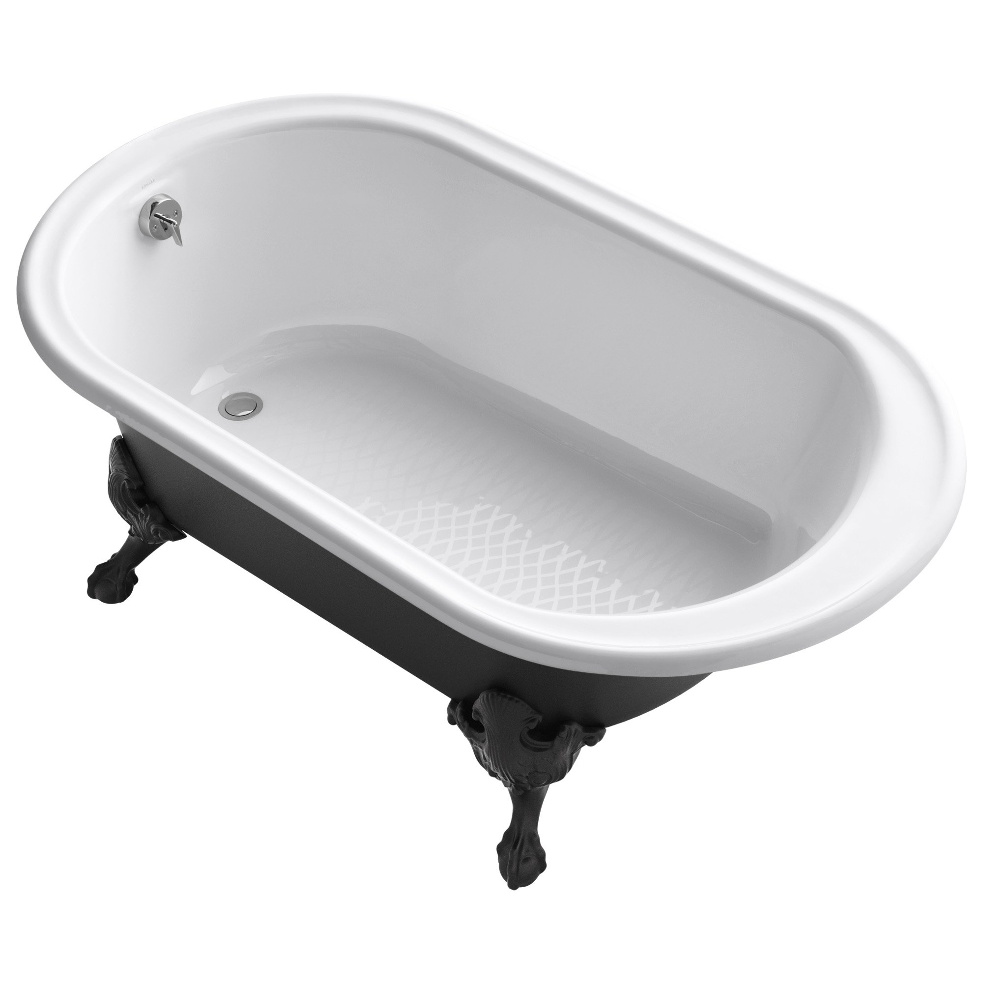 KOHLER K-710-P5-0 Iron Works Historic freestanding oval bath with reversible drain, Iron Black exterior & Safeguard finish, 66'' x 36'', White