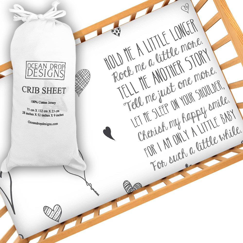Little Baby Quote Fitted Crib Sheet by Ocean Drop Designs - Soft Jersey Sheet with Original Designs for Baby Shower or Christening Gifts - 100% Cotton, Machine Washable by Ocean Drop Designs   B01L854542