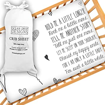 Baby Crib Sheet With Quote, Cute Unisex Crib Sheet, Softest Jersey 100%  Cotton