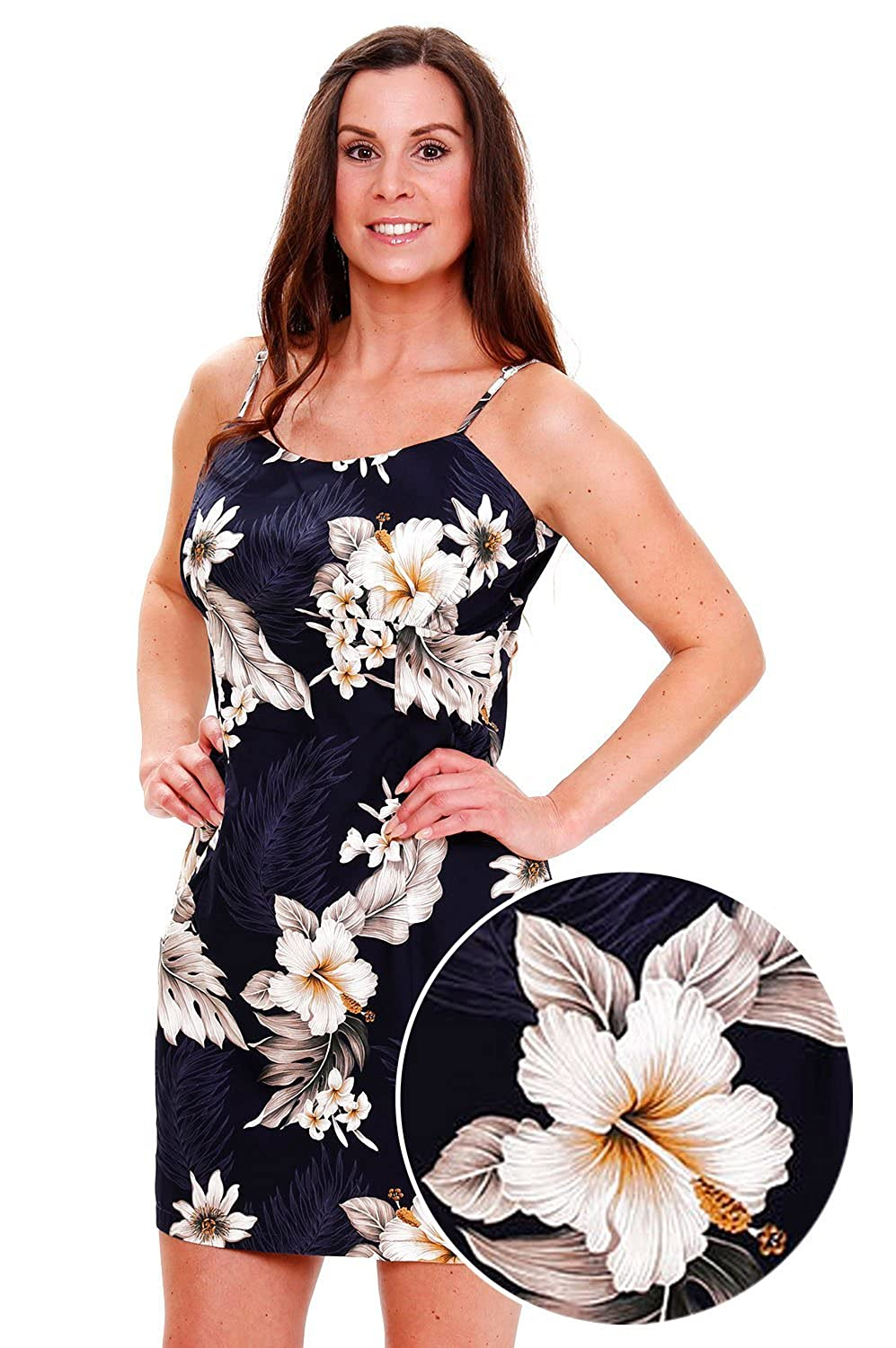 Pacific Legend | Original Hawaiikleid | Damen | S - XXL | Sommer | Hawaii-Print | Blumen | Dunkelblau