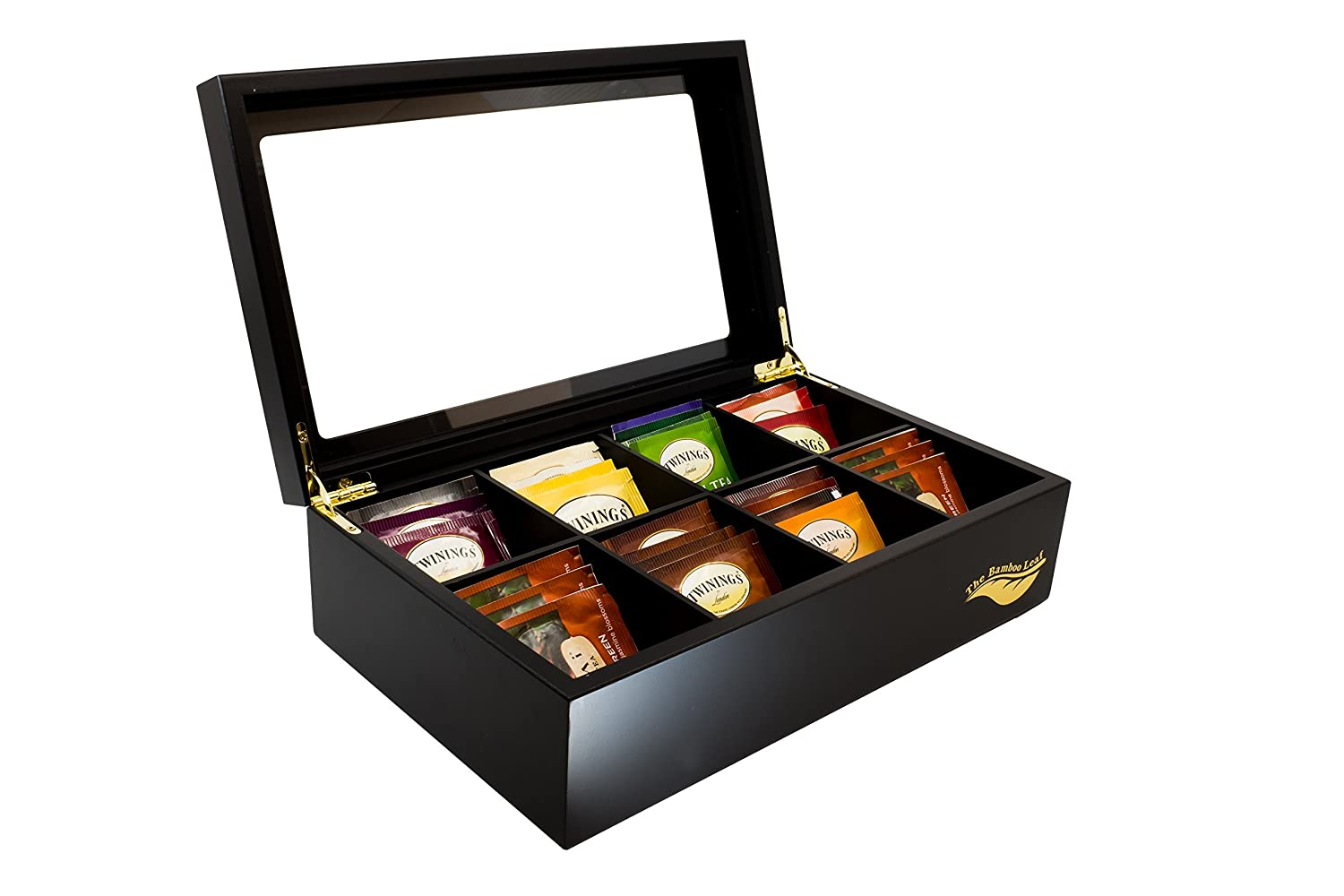 The Bamboo Leaf Luxury Wooden Tea Box Storage Chest, 8 Compartments w/Glass Window (Black) BL0108-B