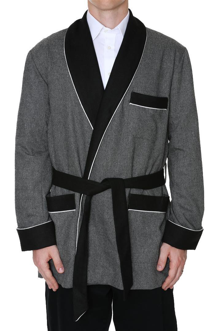Men's Smoking Jacket Octavius Gray Large by Duke & Digham