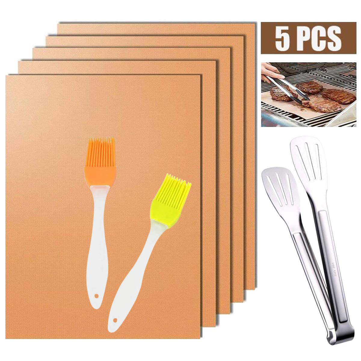 Copper Grill Mat Non-stick BBQ Grill & Baking Mats(Set of 5)FDA-Approved, Reusable Easy to Clean Works on Gas, Charcoal, Electric GrillSheet with 2 Silicone BBQ Brushes & 1 Kitchen Tongs 15.8x13 In by PapaKoyal