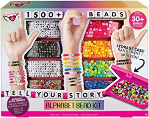 Fashion Angels DIY Alphabet Bead Bracelet Making Kit with Case (12381), 1500+ Colorful Charms and Beads, Screen-Free/Arts and Craft/ Jewelry Making, Recommended for Ages 8 and Up