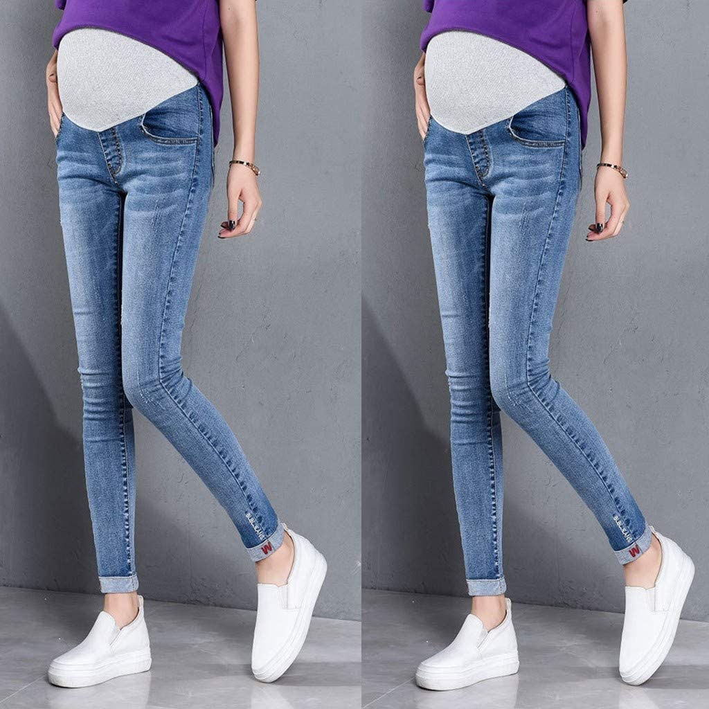 HOSOME Pregnant Woman Ripped Jeans Maternity Pants Trousers Nursing Prop Belly Legging Maternity Clothes