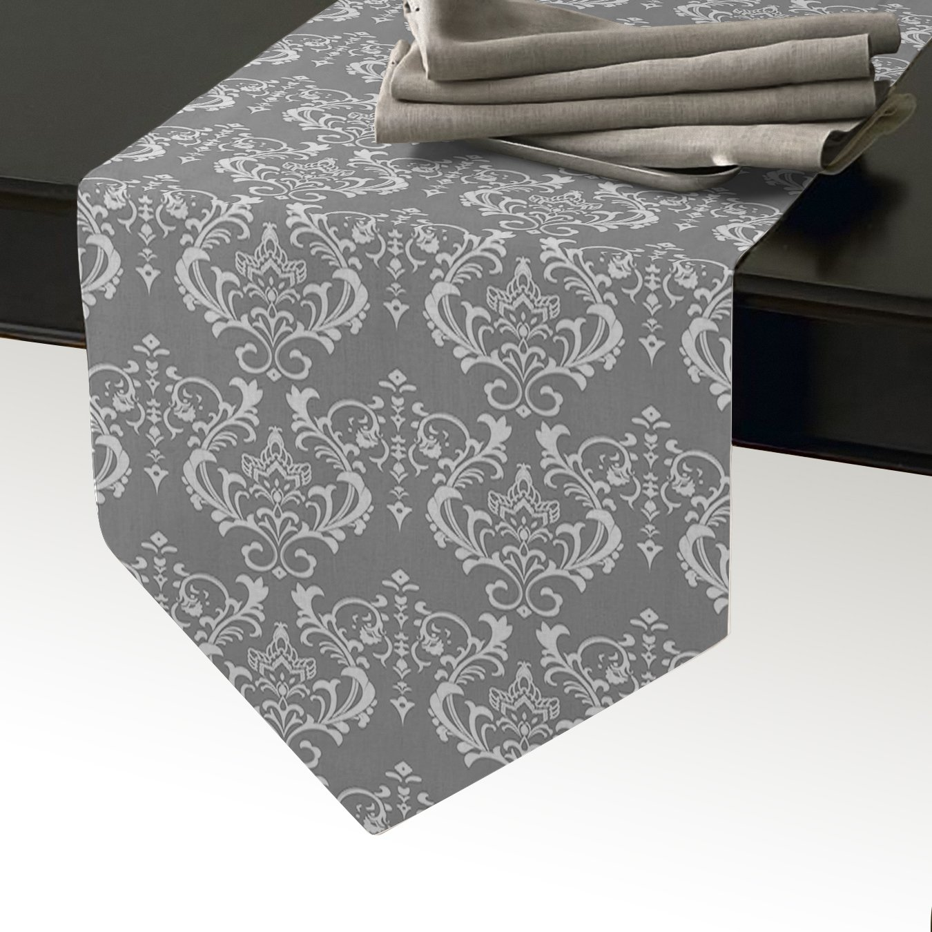 Cloud Dream European Lattice Table Runner For Dinner Parties, Summer & Outdoor Picnics and Everyday Use - 14x72inch,White/Grey