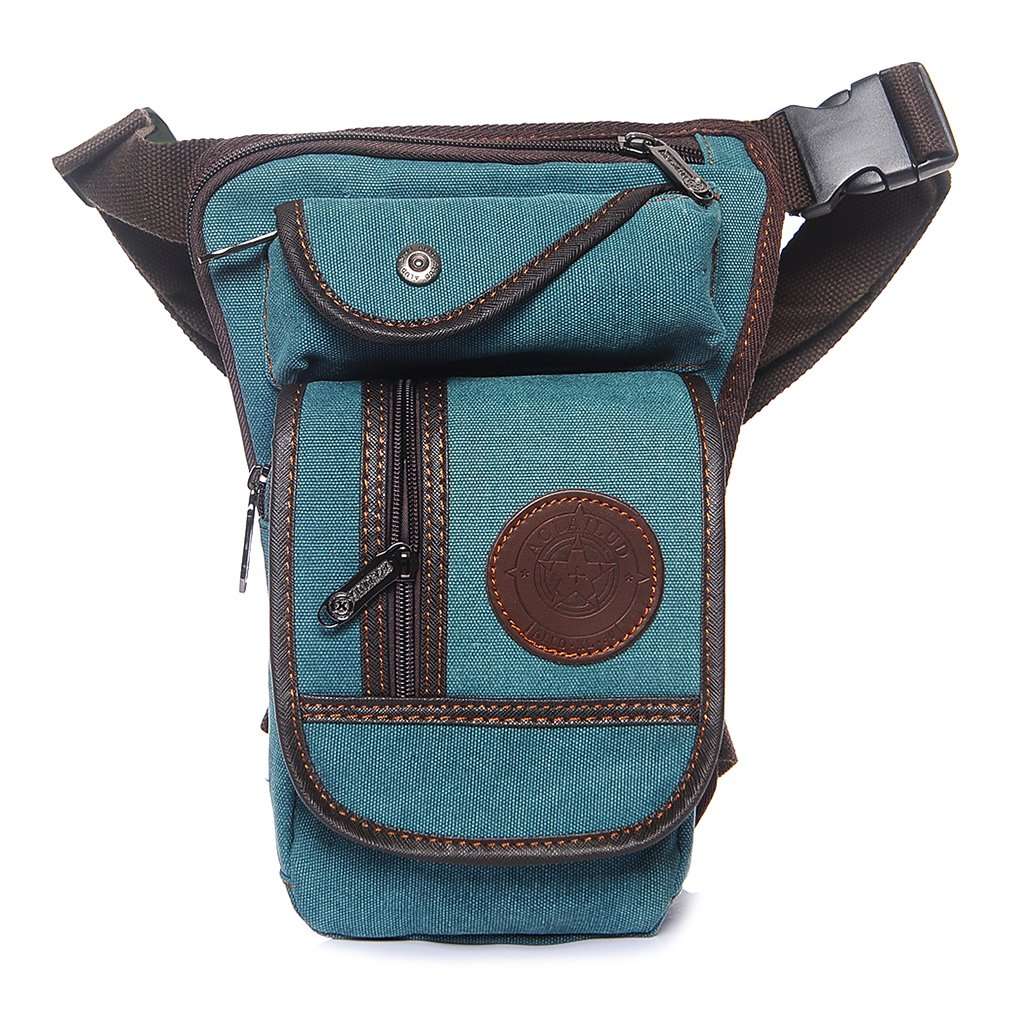Lamdoo uomini tela tattico moto equitazione hip marsupio girovita coscia Drop Leg bag Deep Brown, Tela, Light Blue, 18x8x28cm/7.09x3.15x11.02(approx)