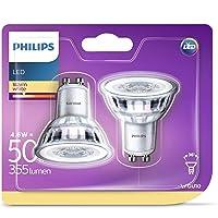 Philips ampoule LED GU10 46W Equivalent 50W Blanc chaud Lot de 2