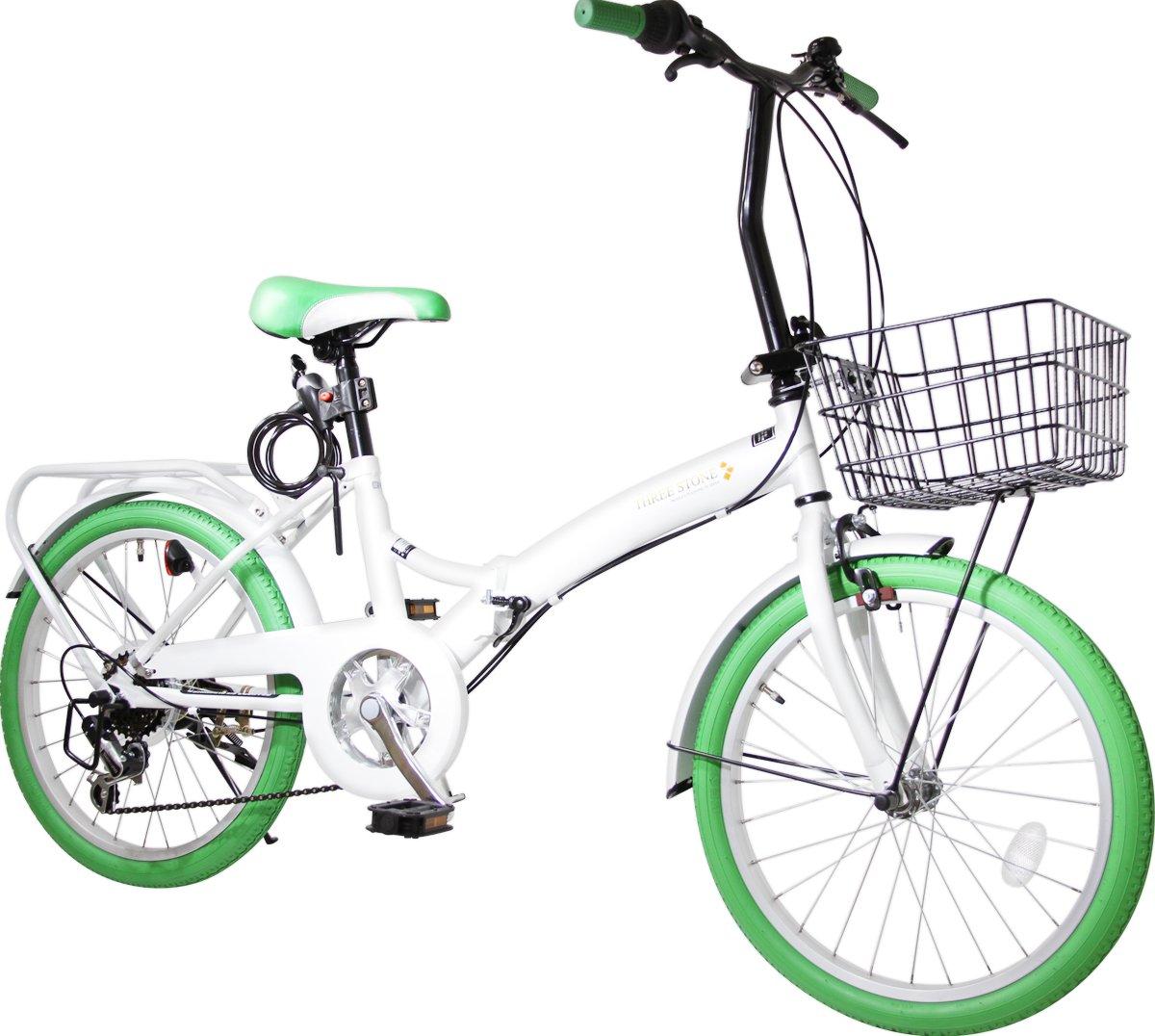 カゴ付き 20インチ 折りたたみ自転車 AJ-04-T カラータイヤ シマノ外装6段ギア リアキャリア (ミニベロ/折り畳み自転車/軽快車/自転車) B07D8R6WBW グリーン グリーン