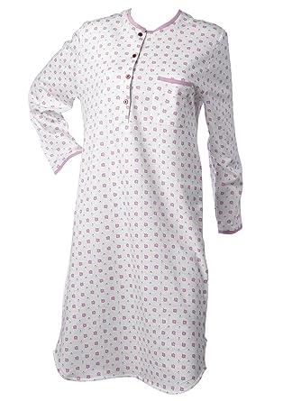 287d838bf6 Waites Ladies 100% Cotton Nightdress Leaf   Polka Dot Long Sleeved Nightie  Medium UK 14