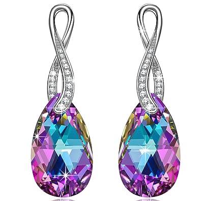 NINASUN Wonderland 925 Sterling Silver [Vitrail Light] Crystals from Swarovski, Women Pierced Earrings, Allergen-free