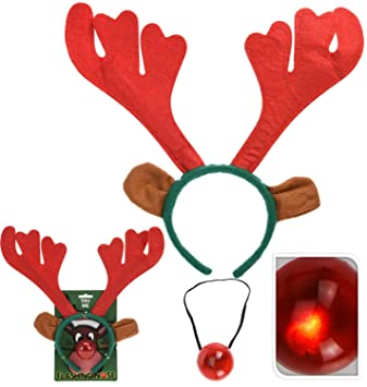 7c8dd5432924b Carousel Home and Gifts 2 Piece Rudolph Reindeer Antlers Headband With  Flashing Nose Festive Party Christmas