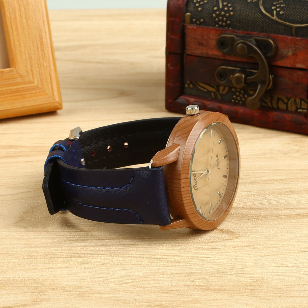 Amazon.com: Auntwhale Wooden Watch Dial Wood Watch Leather Strap Wrist Watch Quartz Analog Watch Retro Casual Big dial Watch Blue: Watches