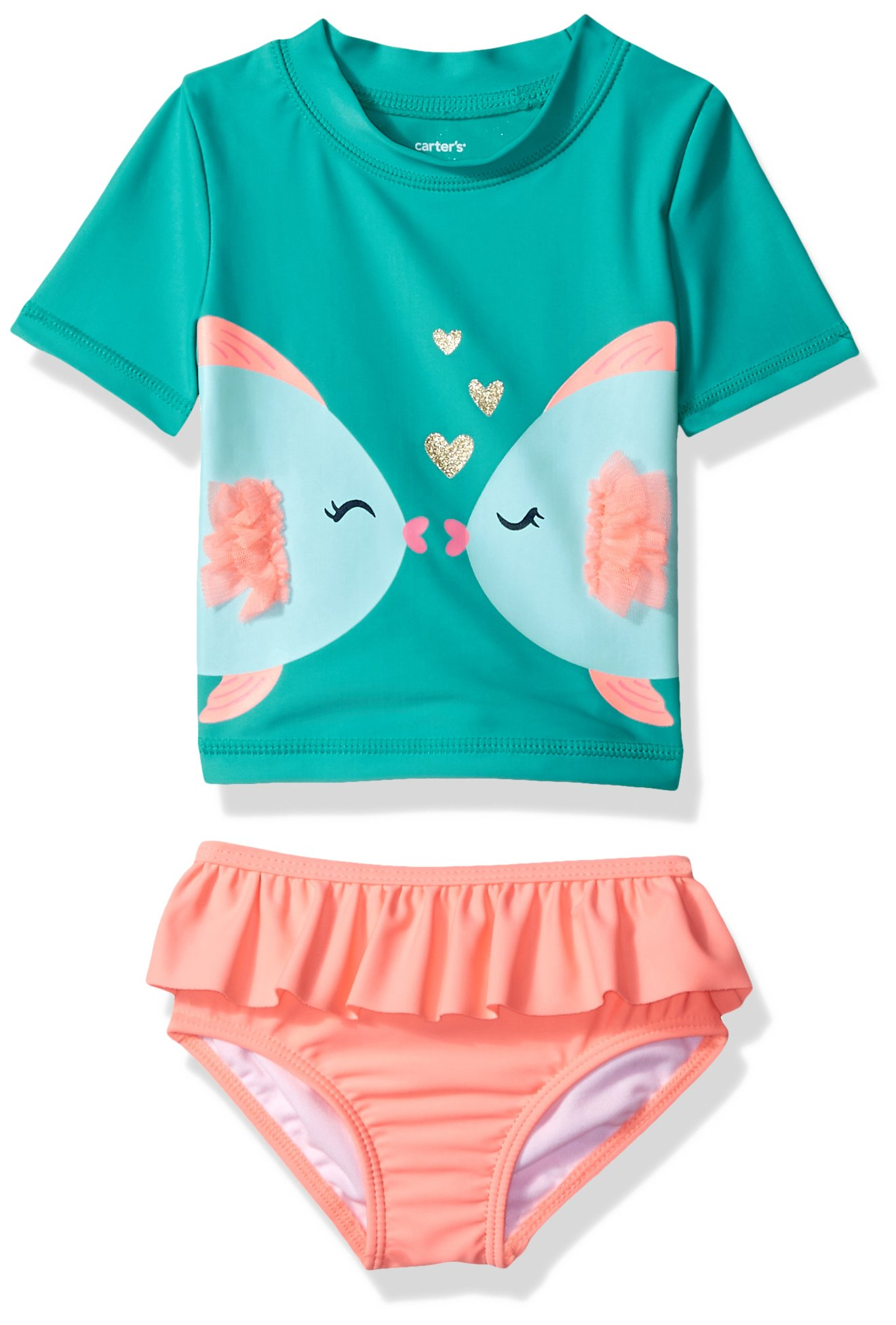 Carter's Girls' Two-Piece Swimsuit, Turquoise Fish, 12 Months