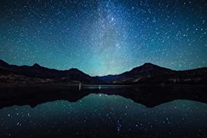 Starry Night Sky Milky Way Reflection Water Landscape Artistic Photo Cool Wall Decor Art Print Poster 36x24