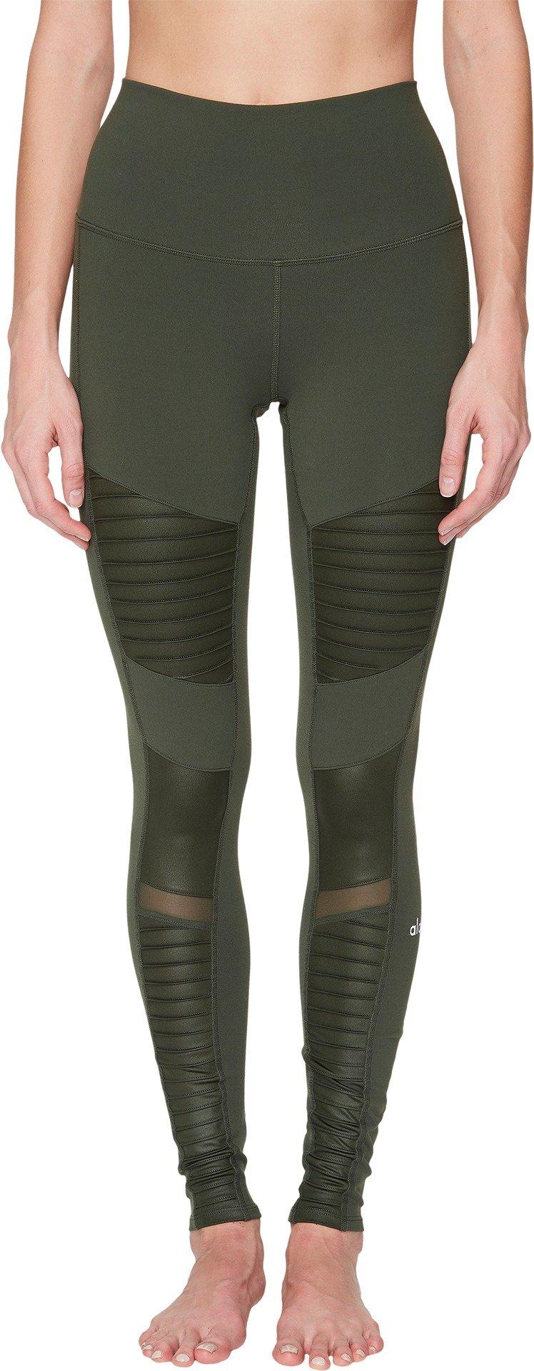 ALO Women's High Waisted Moto Leggings Hunter/Hunter Glossy X-Small 28