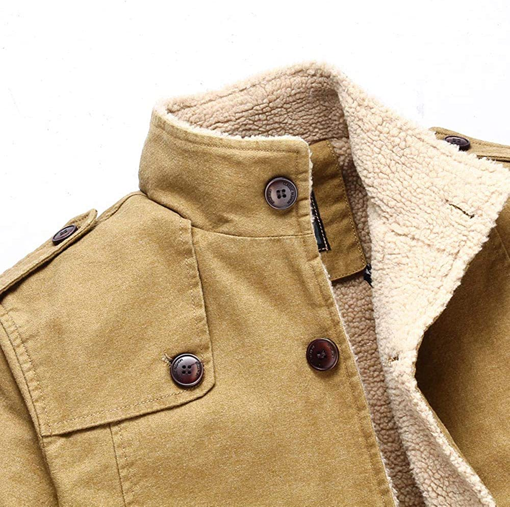 Mens Winter Stand Collar Buttons Long Sleeve Solid Lamb Cotton Jacket