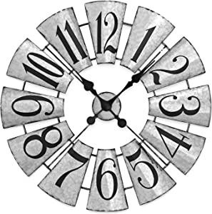 JUMBO DECOR Large Farmhouse Galvanized Metal Windmill Wall Clock,Decorative Vintage Wall Clock,Oversized Wall Clock,27 Inch Silent Non-Ticking